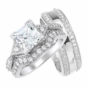 His And Hers Wedding Ring Set Matching Sterling Silver