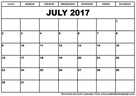 Calnedar Template by July 2017 Calendar Template