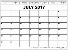 July 2017 Calendar weekly calendar template