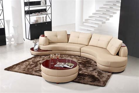 Runde Sofas Modern by Details About Contemporary Beige Leather Sectional Curved