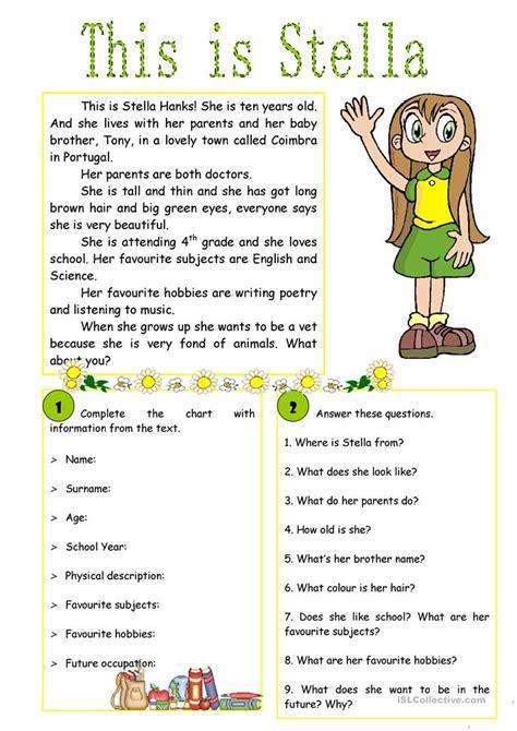 stella reading comprehension worksheet