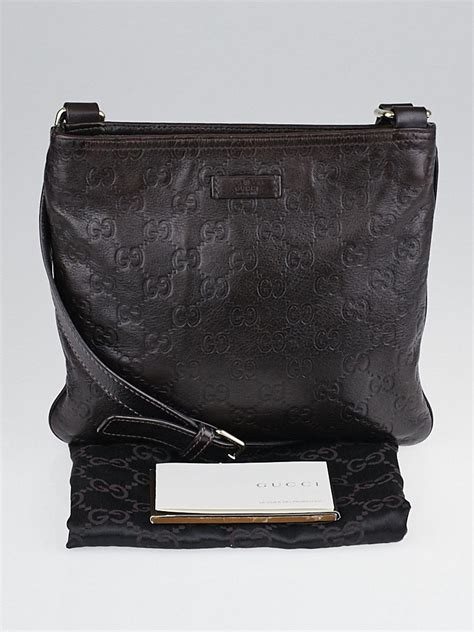 gucci chocolate guccissima leather small messenger bag yoogis closet