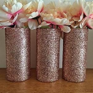 Rose Gold Decor : 3 rose gold glitter vases rose gold centerpiece wedding ~ Teatrodelosmanantiales.com Idées de Décoration