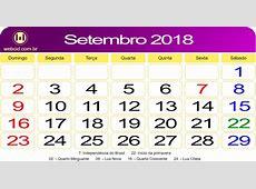 Calendário de Setembro de 2018 webcid