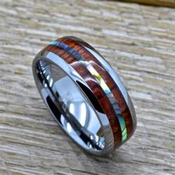 mens wedding rings wood mens tungsten ring with abalone and genuine koa wood inlay 8mm comfort fit wedding band