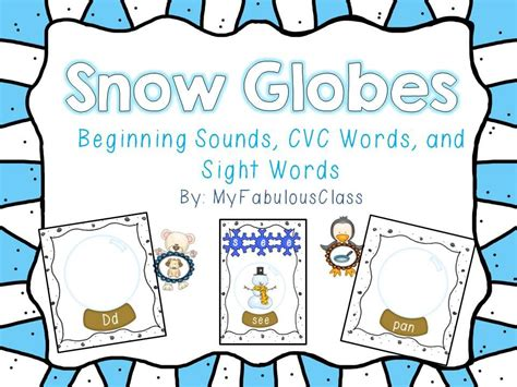 snow globe literacy centers initial sound cvc words