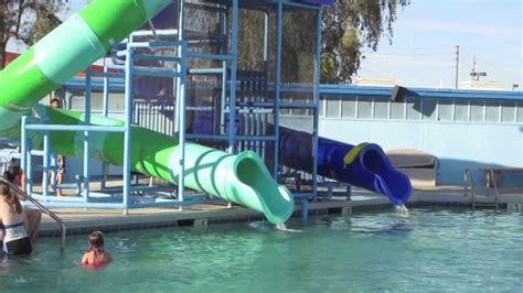 Swimming Pool And Water Slide Fun