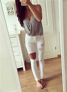 163 best images about cute outfit ideas on Pinterest   White jeans Ripped jeans outfit and ...