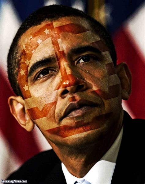 american flag paint  obama face funny picture