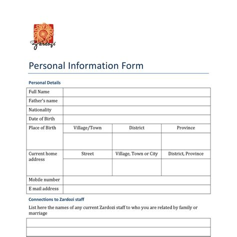 form  personal information formpdf docdroid