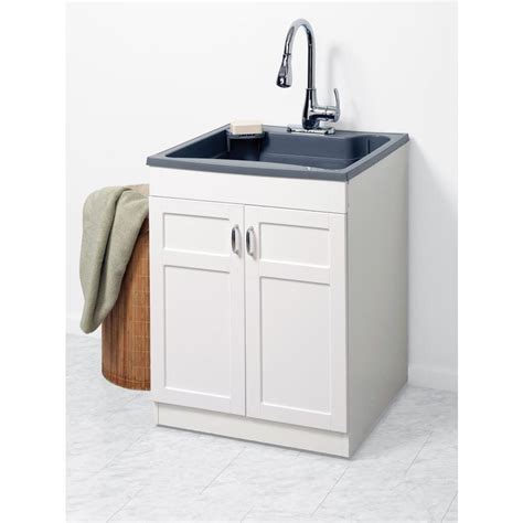Utility Sink In Cabinet by Zenna Home 24 In X 24 25 In 1 Basin Gray Freestanding