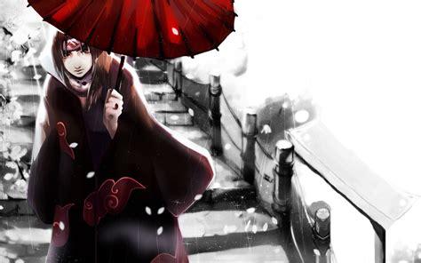 naruto shippuuden uchiha itachi akatsuki umbrella snow