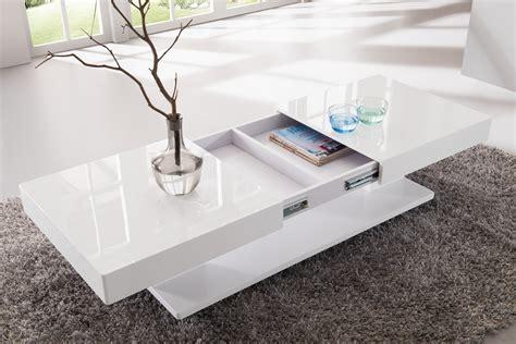 table basse chambre table basse design blanc laqué avec rangements et plateaux