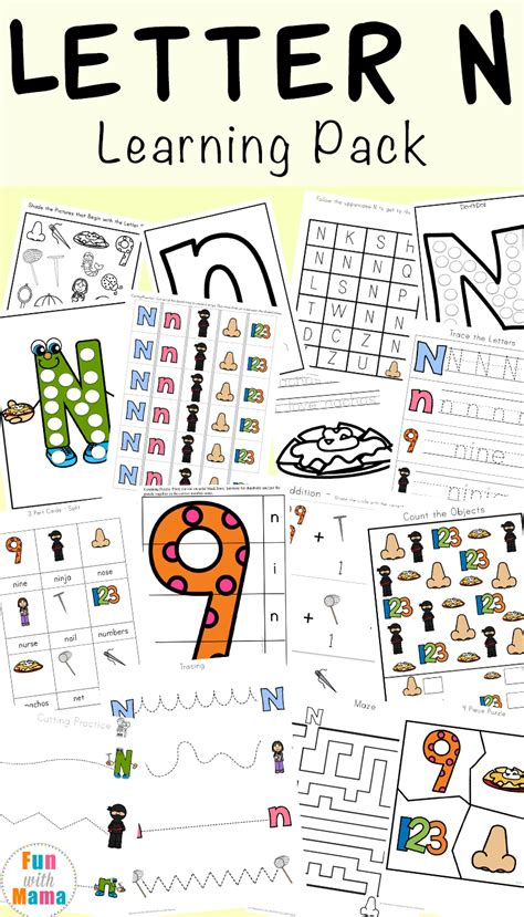 letter n worksheets with 123 | Letter N Learning Pack