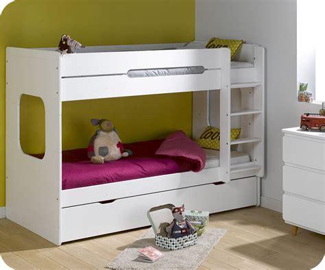 lit superposé avec pack lit superposé enfant spark blanc 90x200 cm avec 2 matelas