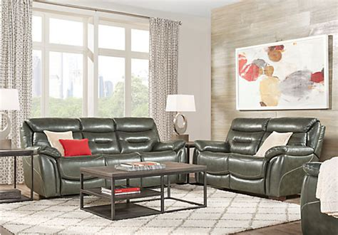 $,.-bennato Gray Leather Pc Living Room With