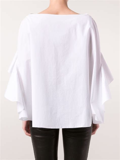 ruffled blouses lyst delpozo ruffle sleeve blouse in white