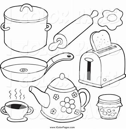 Kitchen Items Clipart Cartoon Utensils Drawing Coloring