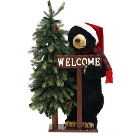 tall holiday time black bear christmas decoration
