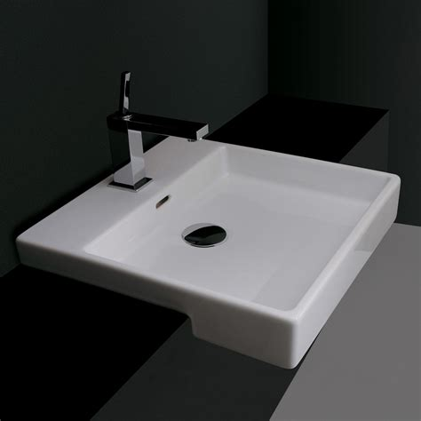 semi recessed bathroom sink ws bath collections plain 45s 0 ceramica valdama semi