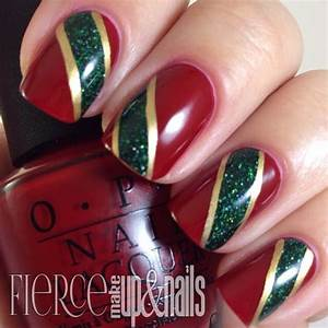 Red gold green nails fashionable