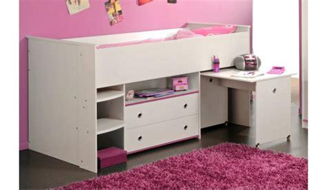 lit combiné bureau fille lit mi hauteur mixte bureau et rangement novomeuble