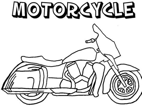 Colouring Pages Transportation Motorcycle Free For Kids