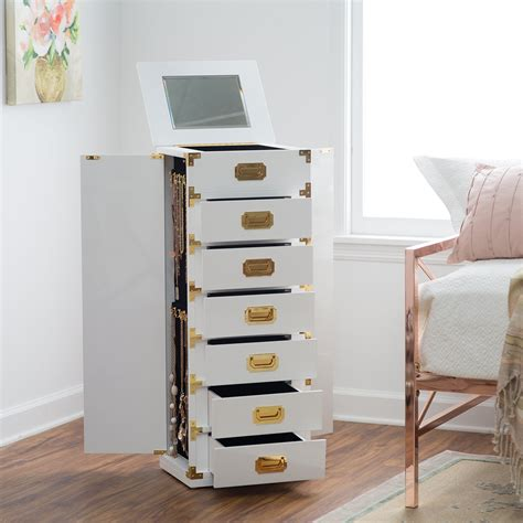 White Armoire by Belham Living Caign Trunk Jewelry Armoire High Gloss