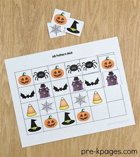 theme pre k preschool kindergarten 786 | Printable Halloween Pattern Mats for Preschool