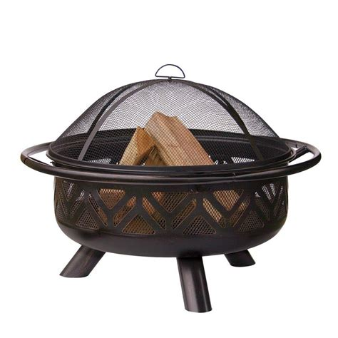 pit home depot uniflame 30 in geometric design rubbed bronze