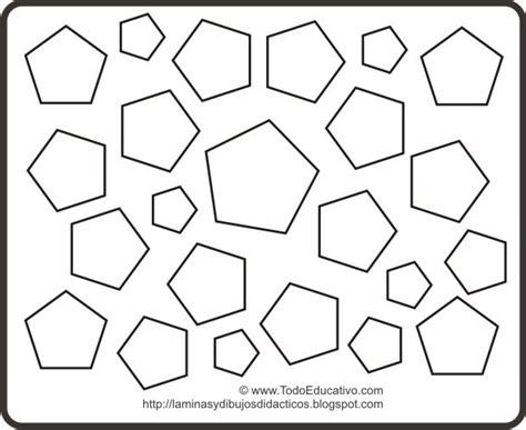 didactic educational prints  drawings dibujo de formas geometricas  colorear pentagonos