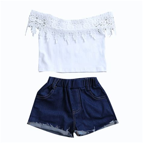 2017 New Fashion Children Girls Clothes Off Shoulder Lace Crop Tops White+Denim Shorts Hot Pant ...