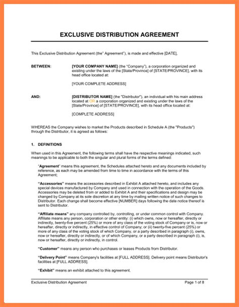 exclusive partnership agreement template purchase