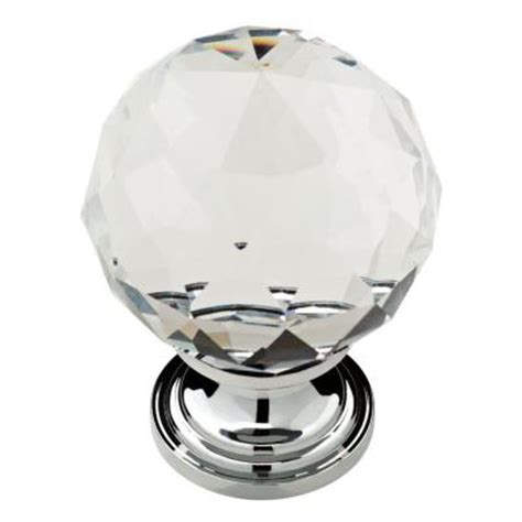 Home Depot Bathroom Cabinet Knobs by Delta Nora 1 3 16 In Chrome With Clear Faceted Glass