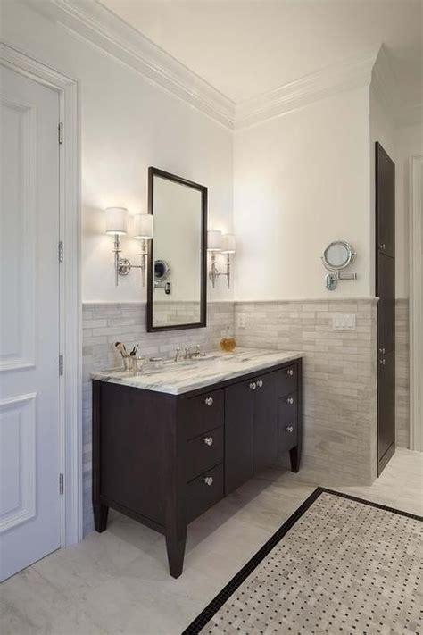half bath tile ideas halhf tile wall with vanity tiled border espresso washstand half tile wall half tiled