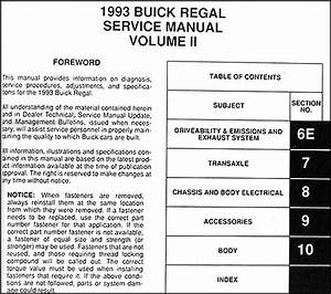 1993 Buick Regal Repair Shop Manual Original 2 Volume Set