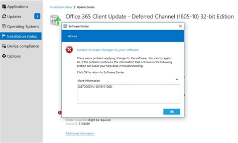 Office 365 Portal Not Working by Sccm Cb 1610 Deploy Office 365 Update