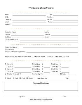 Sle Workshop Registration Form Template by Workshop Registration Form Template