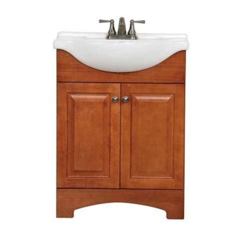 home depot bathroom sink tops glacier bay chelsea 25 in vanity in nutmeg with porcelain