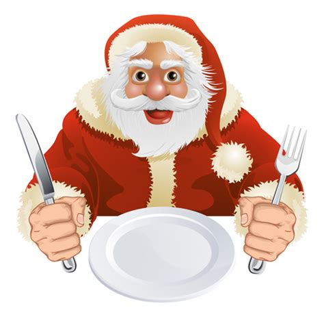 clipart cena santa knife and fork vector 06 free