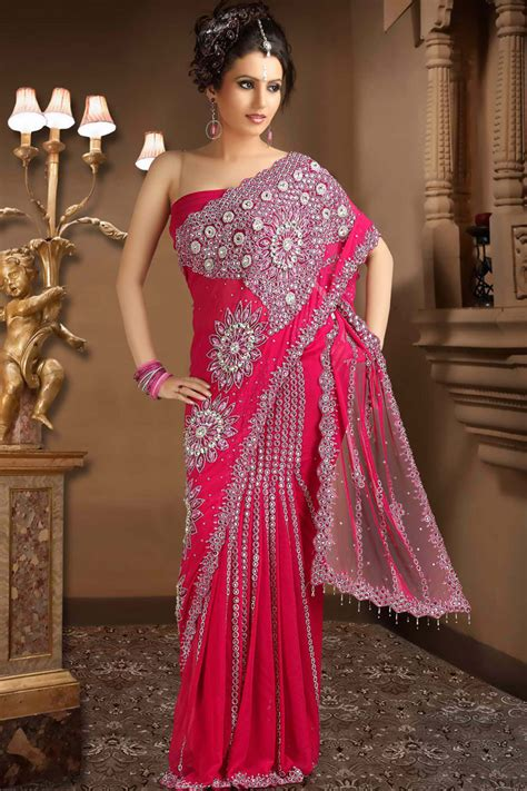 Latest Net Rose Pink Saree for Party Wear u2013 Designer Indian Outfits u2013 Traditional Indian Clothing