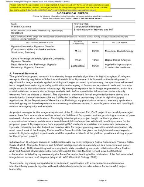 biosketch format parlobuenacocinaco