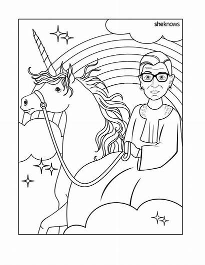 Coloring Pages Ruth Ginsburg Bader History Month