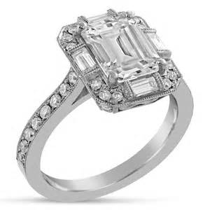 emerald cut engagement rings with baguettes emerald cut antique style engagement ring with baguettes e34