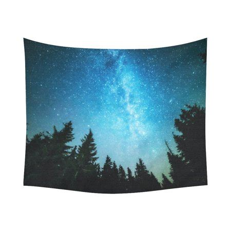 Gckg Night Sky Forest Tapestry Wall Hanging Starry