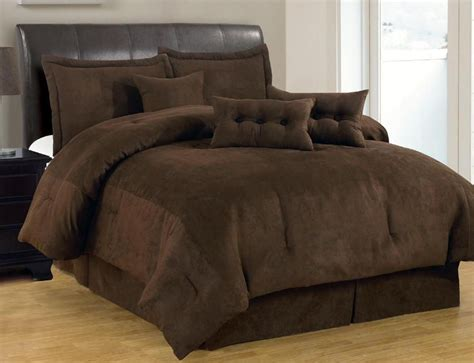 pc solid brown comforter set micro suede queen size bed