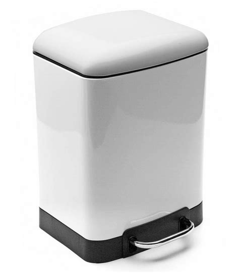 poubelle de salle de bain rectangulaire en m 233 tal blanc