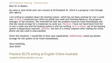 ielts writing lesson  general task  formal letter