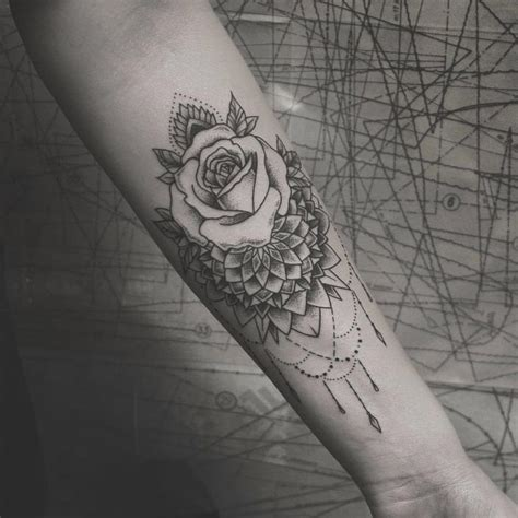 mandalarose forearm piece tattoos pinterest