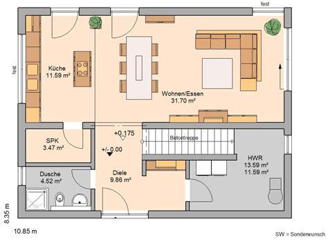 Einfamilienhäuser Grundrisse kern haus bauhaus etos grundriss erdgeschoss